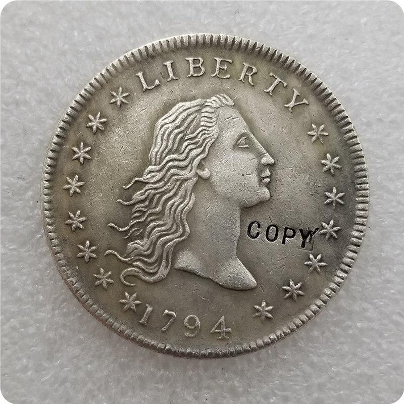 США 1794 переливающийся доллар с изображением волос, копировальная монета, памятные монеты-реплики монет, медали, коллекционные монеты