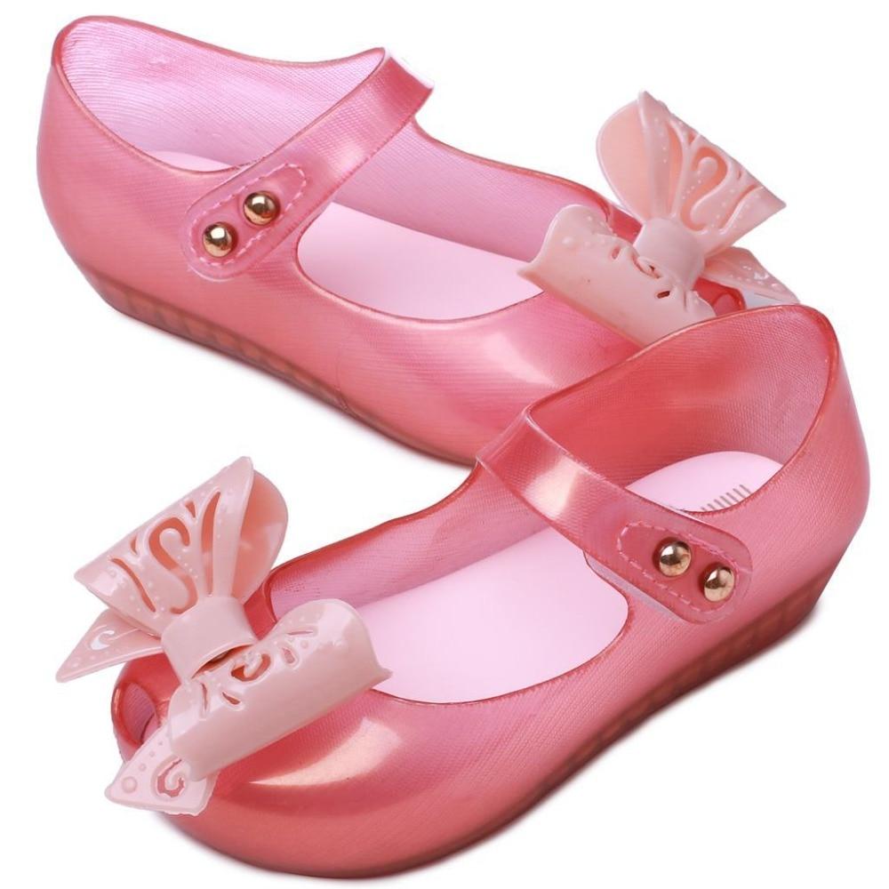 2018 sandálias novas meninas PVC sapatas dos miúdos do estilo Bowtie couro macio calcanhar plana geléia doces cores 4