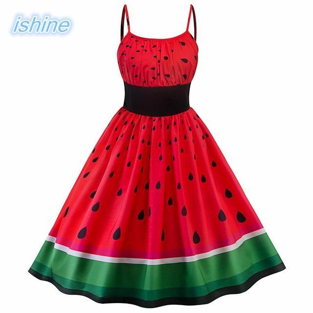 4942c7399 2018 Summer Dress Vintage Rockabilly Dress Jurken 60s 50s Retro Big Swing  Watermelon Print Women Audrey Hepburn Dress Vestidos