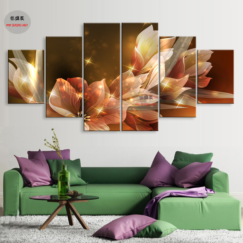 6 Stycke Modern Flower Canvas Pictures HD Print Modular Painting On - Heminredning - Foto 2