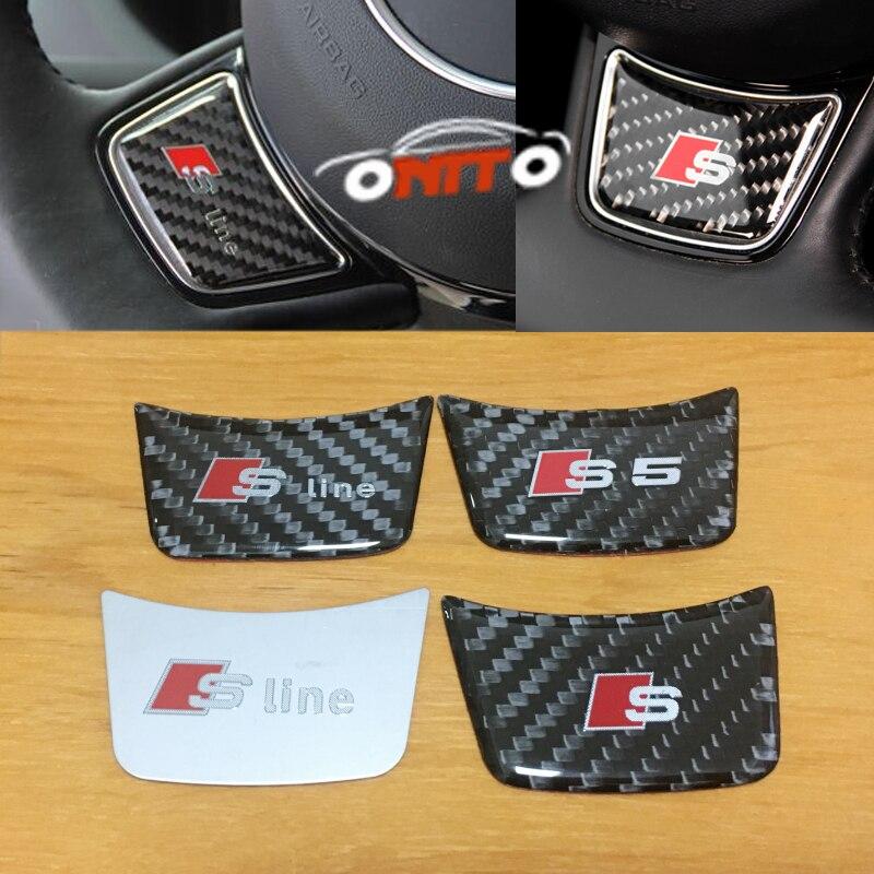 RS Sline S line Steering Wheel Interior Sticker 3D Carbon Fiber Emblem for Audi A1 A3 A4 A5 A6 Q3 Q5 Q7 S3 S4 S5 S6 S7 rs s