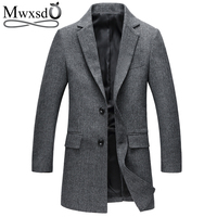 Mwxsd Brand Casual Men S Wool Jacket For Autumn And Winter England Men Middle Long Woolen