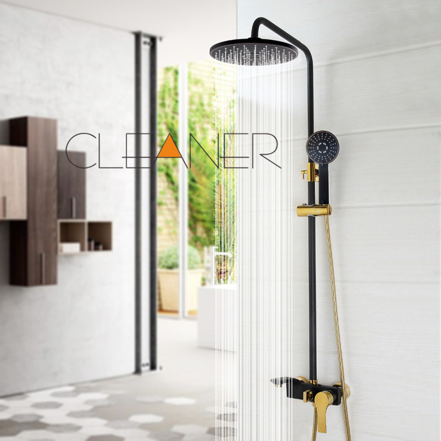 Black Gold plated Wall Mounted Bath Shower Set Faucet Rotation Tub ...