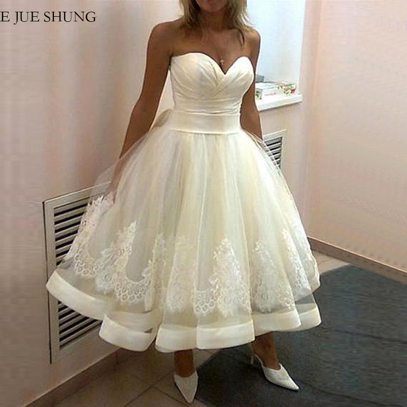 E JUE SHUNG White Tea Length Ball Gown Wedding Dresses