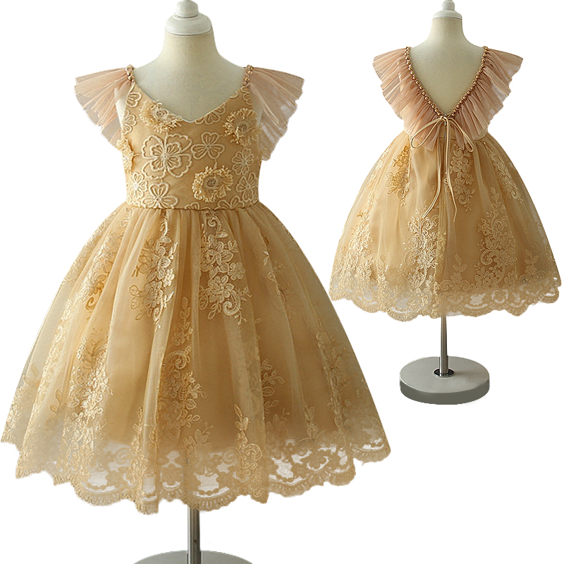 2018 summer special new children's dress Embroidered flower halter beaded girl dress piano dance show dress embroidered bodice frilled dress