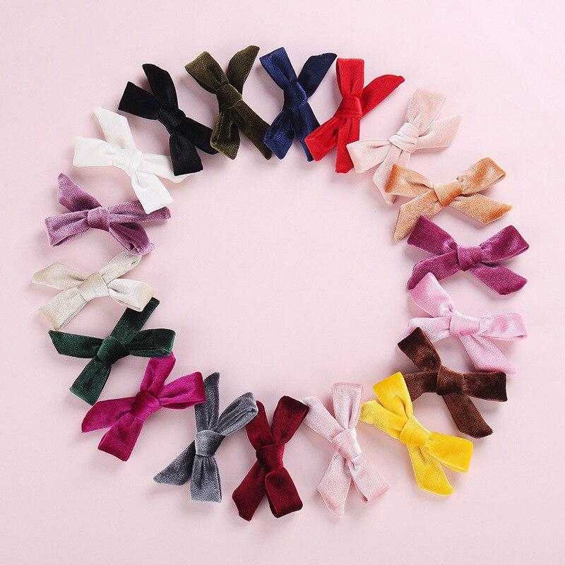 Velvet Handtied Bow Nylon Headband Or Clip For Autumn And Winter, Schoolgirl Velvet Hair Accessories