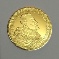 10 pcs The Napolon Polonie Prvss hero badge 24K real gold plated 40mm collectible souvenir home decoration coin