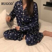 RUGOD New Casual 2 Piece Set Women Suits Glossy Silk Long Sleeve Polka Dot Homen Clothes For Female Sleepwear conjuntos de mujer
