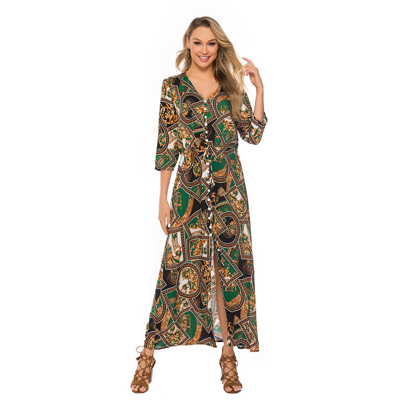 Dress Women Plus Size 5XL Maxi Party Dresses Summer 2019 Print Women Bohemian Dress Long Sleeve