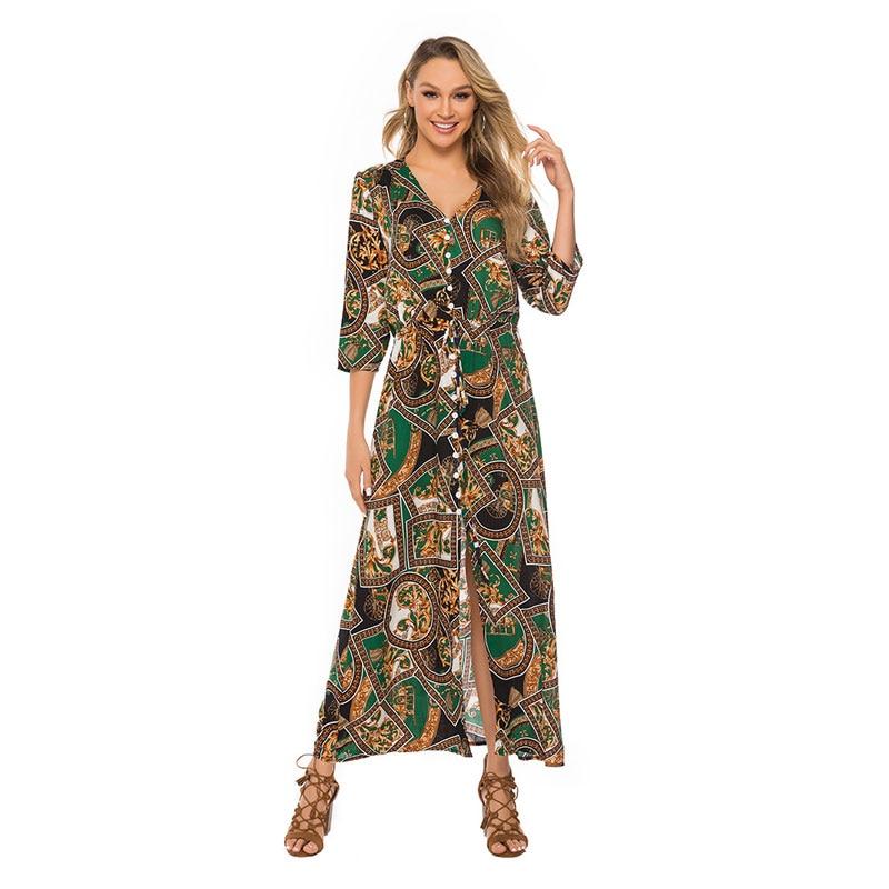 ผู้หญิง Plus ขนาด 5XL Maxi Party Dresses ฤดูร้อน 2019 พิมพ์ _ _ _ _ _ _ _ _ _ _ _ _ _ _ _ _ _ _ _ _ แขนยาวหญิง Vestidos WQL5820-ใน ชุดเดรส จาก เสื้อผ้าสตรี บน AliExpress - 11.11_สิบเอ็ด สิบเอ็ดวันคนโสด 1