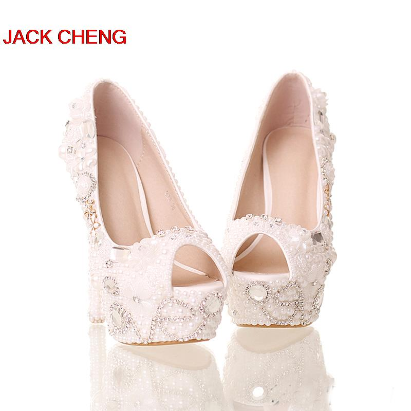 Handmade 14cm High Heels Platform Crystal Bride Formal Shoes Summer Peep  Toe White Pearl Shoes Wedding Bridal Party Prom Pumps-in Women s Pumps from  Shoes ... eb3f08dc331f