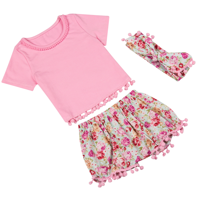 New designs baby girls kids floral clothes set summer pompom t shirt short pant headband boutique clothing set