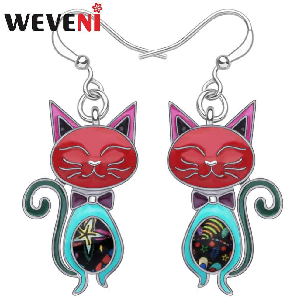 WEVENI Statement Enamel Alloy Elegant Cat Earrings Dangle Stud Fashion Animal Pet Jewelry For Women Girls Party Gift Accessories