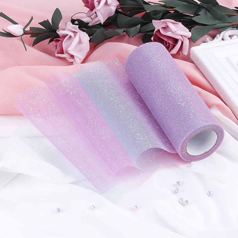 "10Yard/roll 6"" 15cm Rainbow Glitter Tulle Roll Sequin Crystal Organza Sheer Fabric DIY Craft Tutu Skirt Home Wedding Decoration"