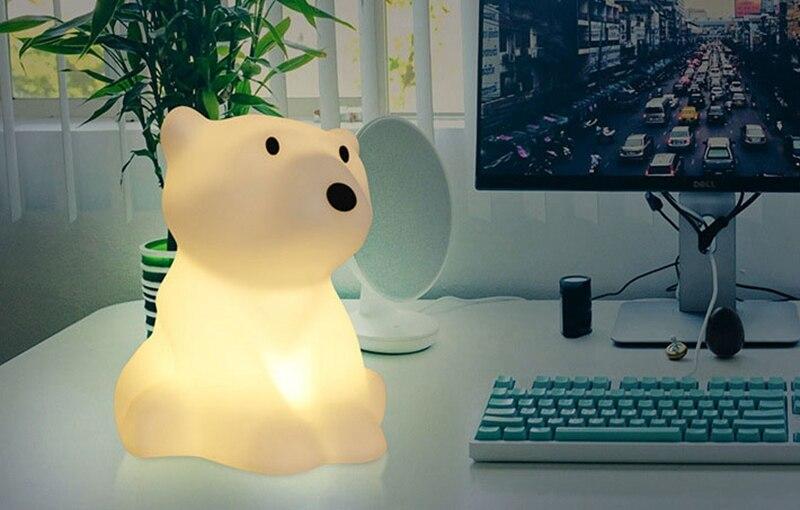 Polar Bear LED Night Light Swivel Dimmable Novel Gift for Kids Sleeping Warm White Baby Lamp Silicone Indoor Decoration Light (4)