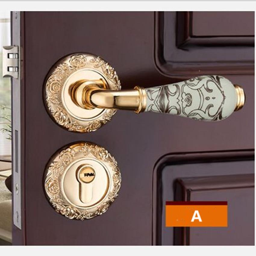 Модный механический замок для межкомнатной двери с Золотой резной розой, бронзовый, слоновой кости, белый, для спальни, кухни, из цельного дерева, для двери, керамический замок с ручкой - Цвет: A locks