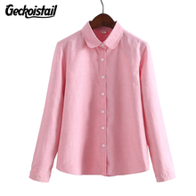 Geckoistail Women Blouse New Casual Long Sleeved Cotton Oxford White Shirt Woman Office Shirts Excellent Quality Blusas Lady