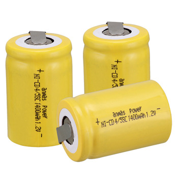 Anmas power! Yellow 3 PCS Ni-Cd 4/5 SubC Sub C battery Rechargeable Battery 1.2V 1400mAh with Tab 3.3cm x 2.2cm-Tab image