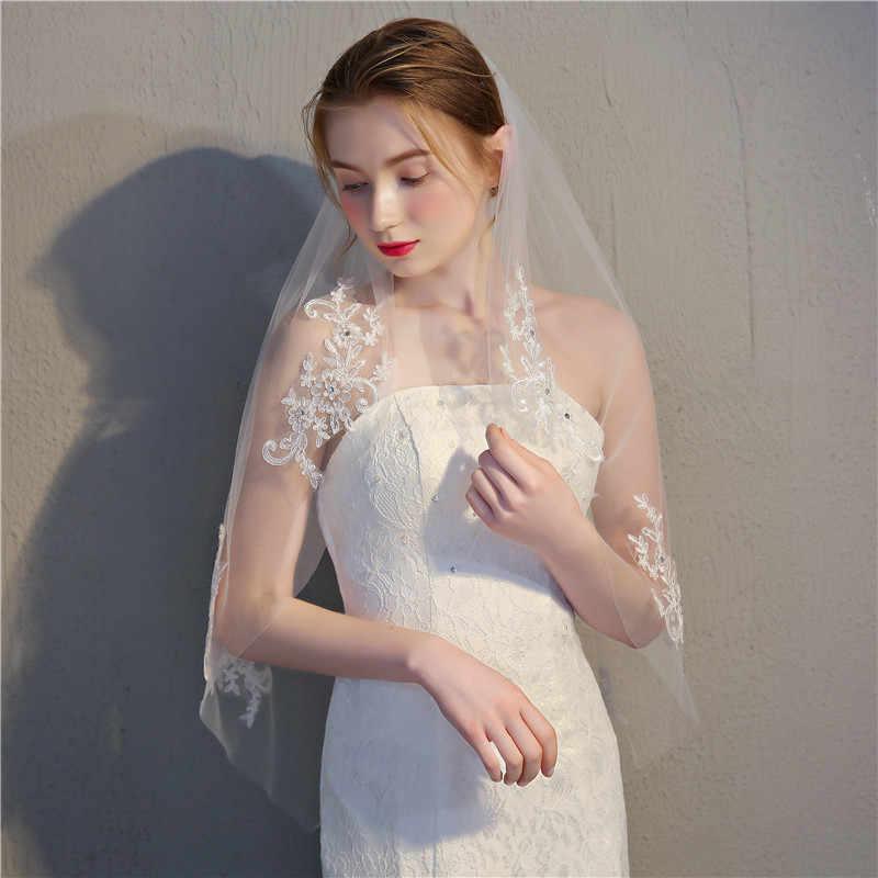 JaneVini 2018 Spitze Applique Hochzeit Schleier Mit Kamm Weiß Elfenbein Perlen Schnittkante Braut Schleier Kurze Tüll Schleier für Braut zubehör