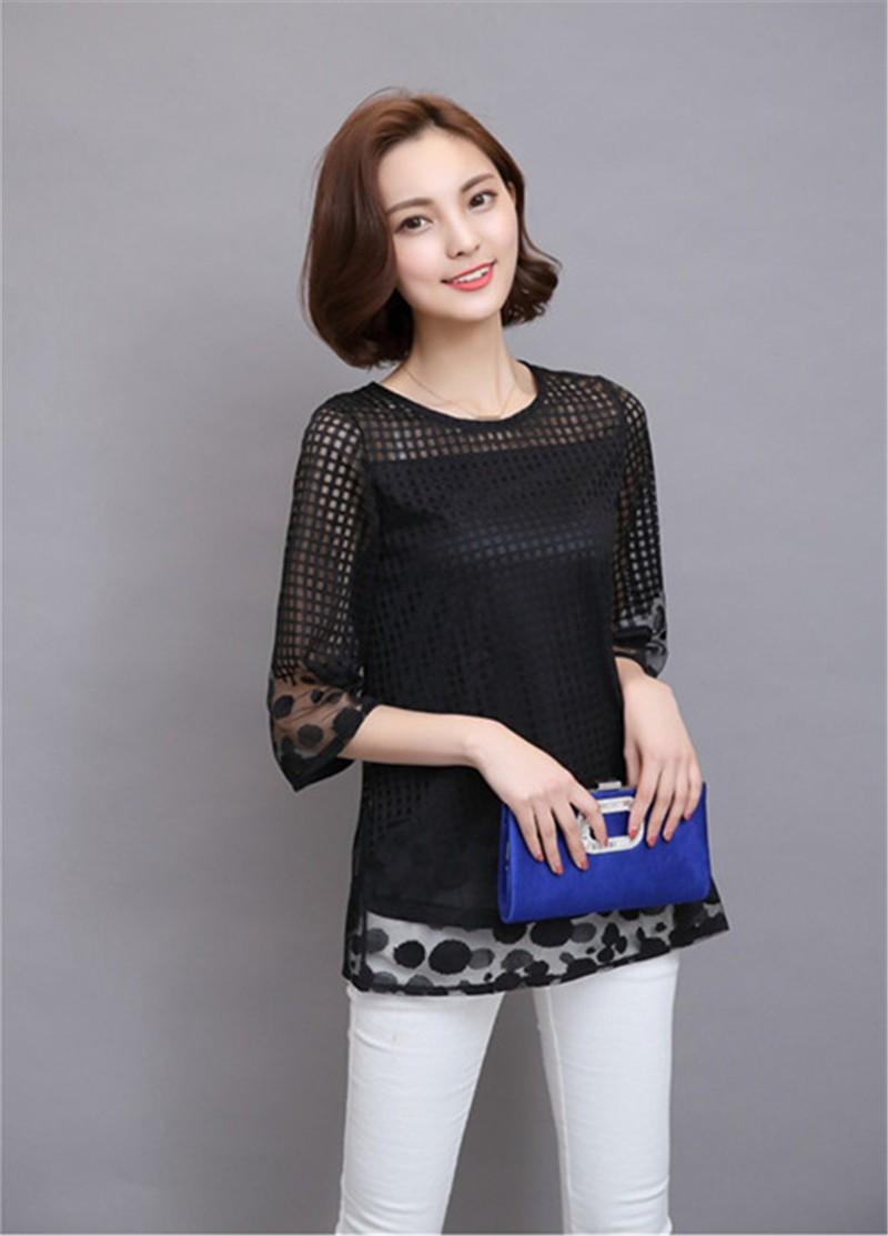 Plus Size 4XL 5XL 6XL  Luxury Lace O Neck  Women Blouse Shirt Noble Long Mesh sleeve Shirt Blouse Vintage tops Blusas Femininas (28)