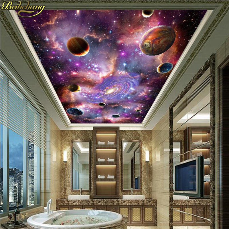 beibehang custom photo wall paper murals cosmic stars galaxy 3d ceiling ceiling fresco wallpaper. Black Bedroom Furniture Sets. Home Design Ideas