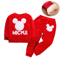 Baby Clothes Boys New Winter Plus Velvet Padded Children's Two piece Clothes Cartoon Mickey 1 2 3 4 Years Old Costume for Girls