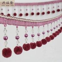 XWL Luxury 10cm Wide Pearl Beads Pompon Decorate Tassel Fringe Trim Ribbon DIY Sewing Braid Sofa