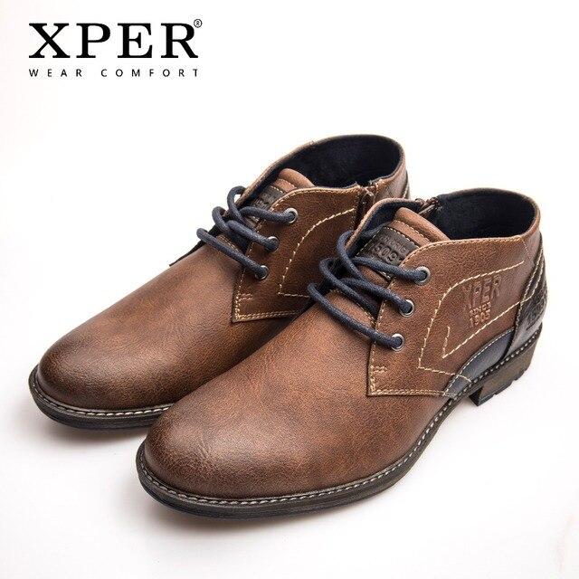 XPER/Брендовые мужские ботильоны на осень-зиму, модная обувь в стиле ретро, деловая обувь на шнуровке, рабочая обувь, мужские коричневые прошитая обувь # XHY11305BR