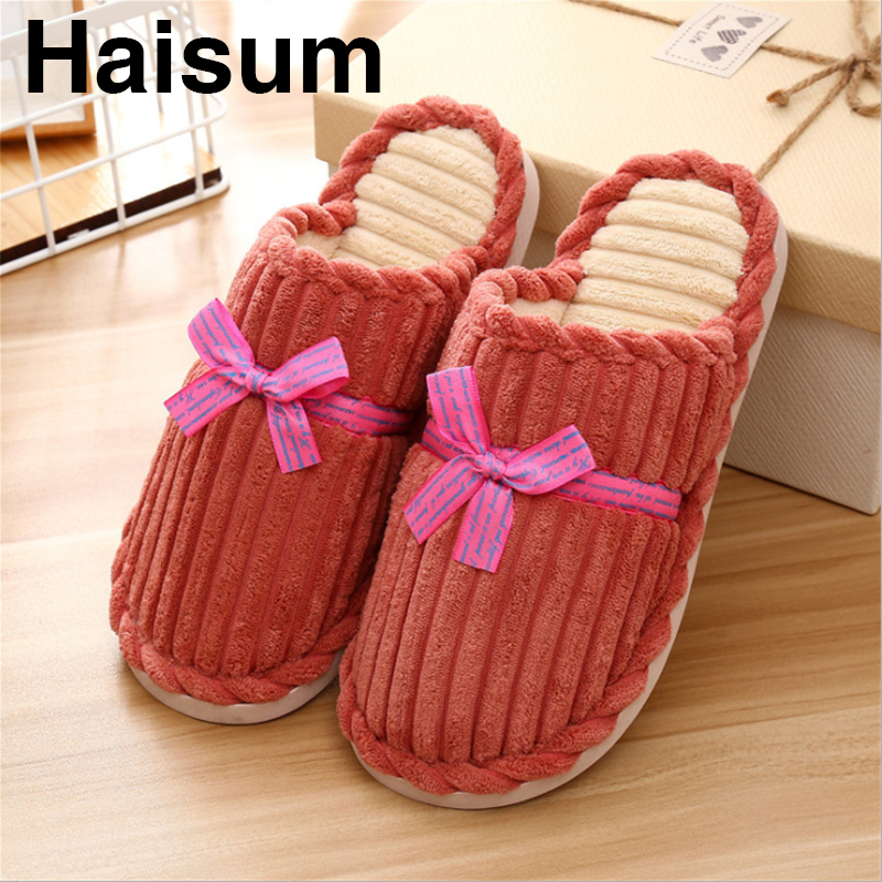 c03af87bd79 Women s cotton slippers women s winter indoor home warm non-slip thick  corduroy slippers