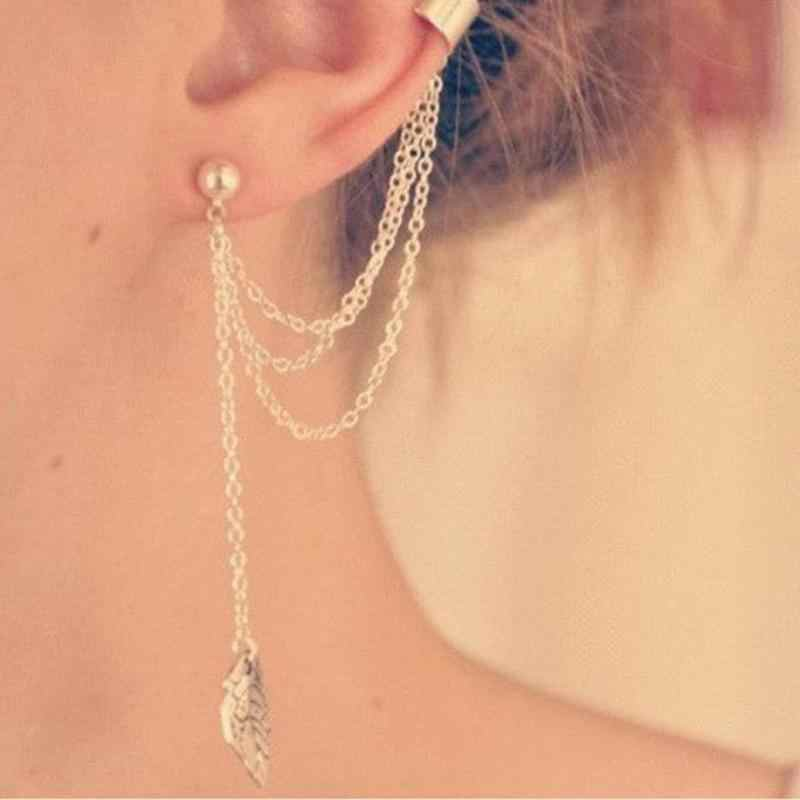1ピースパンク·ロックスタイル女性若い贈り物葉チェーンタッセルイヤリング、メタリックゴールドとシルバージュエリーイヤリング耳クリップ卸売