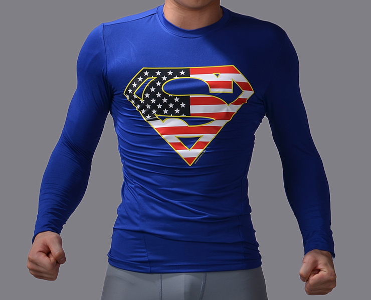 marvel 3d superhero superman t shirt men 39 s compression. Black Bedroom Furniture Sets. Home Design Ideas