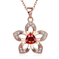 Flower Design Pave Zircon Plating Rose Gold Handmade Belong Your Symbol Beautiful Pendant Necklace