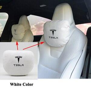 Image 2 - Styling Geheugen Zachte Comfortabele Auto Hoofdsteun Nekkussen Kussen Beschermen Logo Accessoires Voor Tesla Model S Model X Model 3