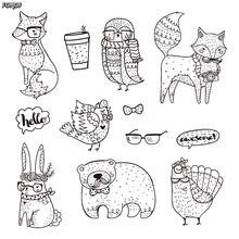 Woodland Hipster Animal Clipart / Hipster Fox Owl Bunny Triušis Skaidrus Silikoninis antspaudas / nuotraukų albumas Dekoratyvus švarus antspaudas B004
