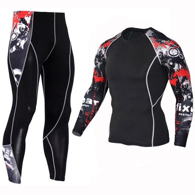 Comprimido T-shirt + Calças dos Esportes Dos Homens 2 pçs set Conjunto De bedd5600a3b83