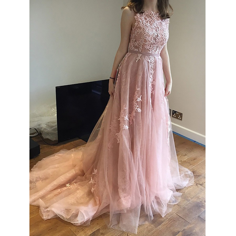 Abiye Blush Pink Lace Long Formal Party Dresses Appliques Backless ...