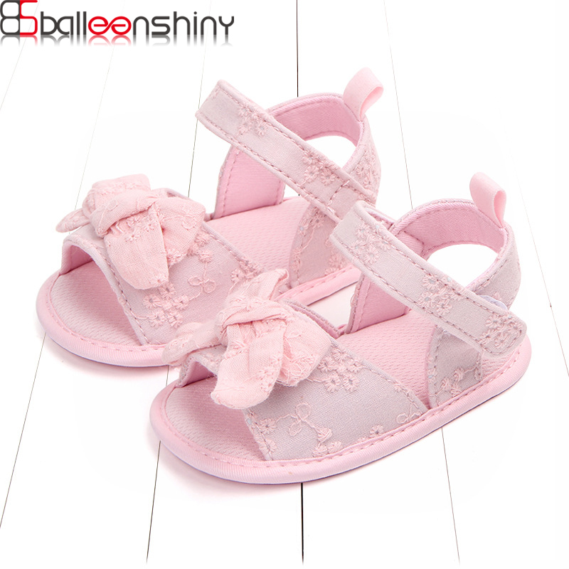 BalleenShiny Summer Sweet Newborn Baby Girls Cotton Shoes Footwear Infant Toddler First Walkers Princess Bowknot Shoes