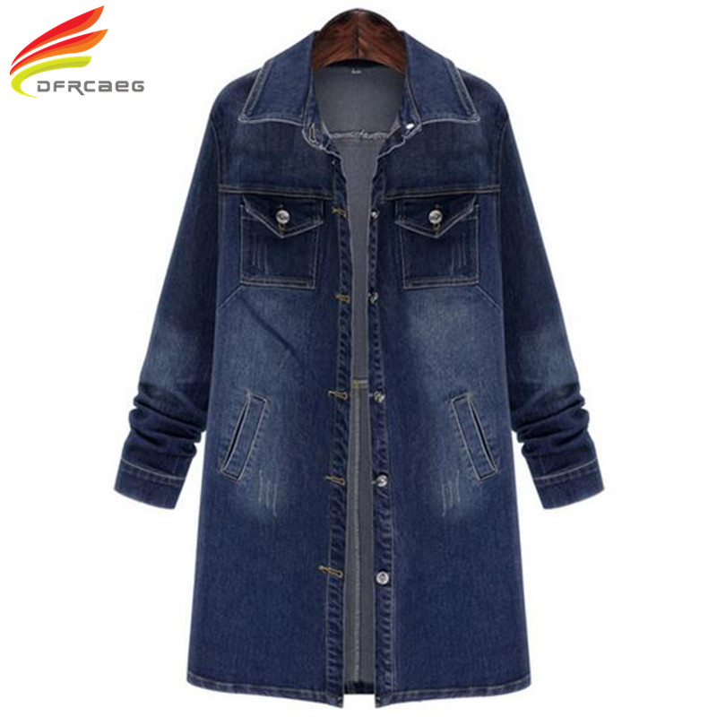 Plus Size Denim   Trench   Coat For Women 2018 Spring New Style Casual Long Coats Single Breasted Double Pockets Women Basic Coats