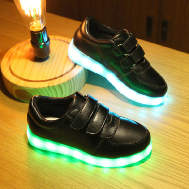 Children Breathable LED Sneakers Fashion Sport Led USB Luminous Lighted Shoes for Boys Girls Red 35 EU//3 M US Little Kid