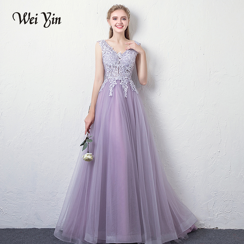 029907042b09 WEIYIN Purple Long Evening Dresses Sexy V Neck Backless Applique Tulle  Crystal Floor Length Prom Party Gowns Robe De Soiree
