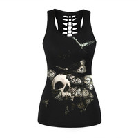 Punk Red Flowers Skull Tank Tops Halloween Black Digital Print Vest Summer Sleeveless Glasses Skull Tops