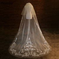 Favordear Top Quality 3m Bridal Veil 2 Layer Embroidery Cathedral Wedding Veil With Blusher Silver Comb