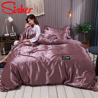 Sisher Pure Satin Silk Bedding Set Adult Luxury Duvet Covers With Pillowcase Size Single Double Queen King Bed Sheet Bedclothes