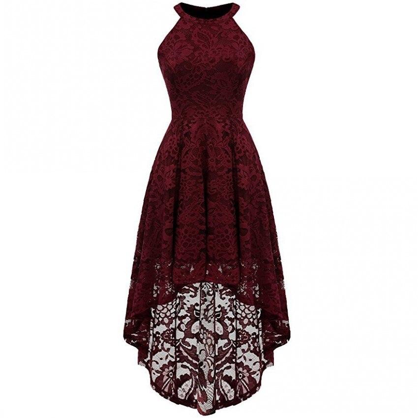 Christmas Asymmetrical Dresses For Women 2019 Sleeveless Halter Long Maxi Lace Dress Prom Ballgowns Asymmetrical Vestidos