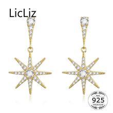 LicLiz 2019 New 925 Sterling Silver Geometric Sun Drop Earrings for Women Classic Gold CZ Crystal Sunlight Jewelry LE0587