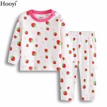 Hooyi/детская одежда для сна с клубничкой; пижамы для девочек; хлопковые весенние комплекты для сна для новорожденных; Детские футболки с длинными рукавами; Мягкие штаны