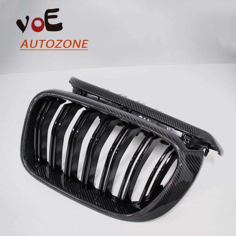 2014 2015 2016 2017 2018 F25 X3 Carbon Fiber Gloss Black F25 X4 M style Front Racing Grill Grille for BMW X Series F25 F26