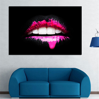 1 Pcs Pink Lips Modern Decorative Painting Wall Art Print Posters Abstract Art For Living Room Canvas Prints For Family No Frame