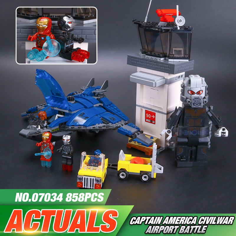 font b LEPIN b font 07034 Super Heroes Airport Battle Quinjet Ant Man Winter Soldier