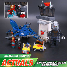 LEPIN 07034 Super Heroes Airport Battle Quinjet Ant-Man Winter Soldier Building Set Minifigures Blocks Compatible 76051